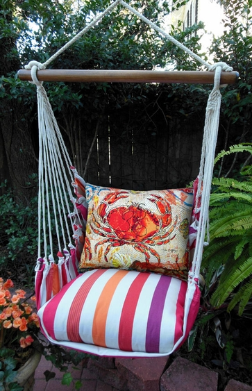 Cristina Stripe Fresh Crab Hammock Chair Swing Set - Click to enlarge