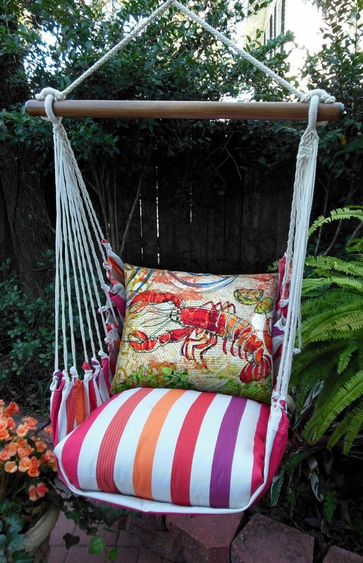 Cristina Stripe Fresh Lobster Hammock Chair Swing Set - Click to enlarge