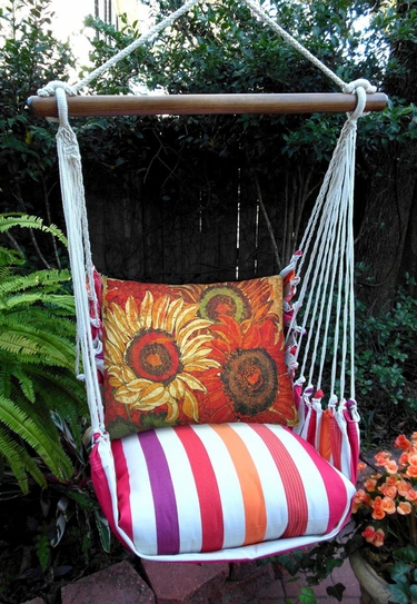Cristina Stripe Full Blooom 1 Hammock Chair Swing Set - Click to enlarge