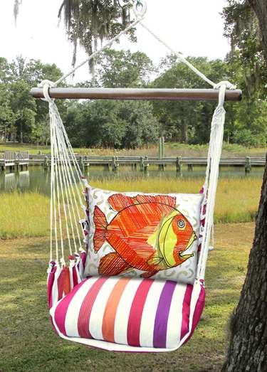 Cristina Stripe Modern Fish Hammock Chair Swing Set - Click to enlarge