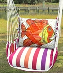 Cristina Stripe Modern Fish Hammock Chair Swing Set