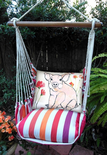 Cristina Stripe Piglet Hammock Chair Swing Set - Click to enlarge