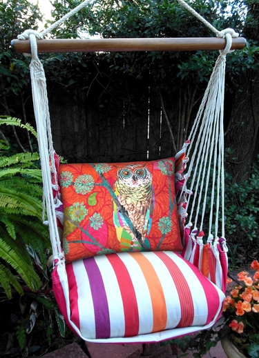 Cristina Stripe Red Owl Hammock Chair Swing Set - Click to enlarge