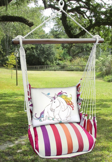 Cristina Stripe Unicorn Hammock Chair Swing Set - Click to enlarge