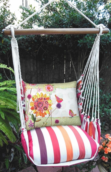 Cristina Stripe Whimsy Birds Hammock Chair Swing Set - Click to enlarge