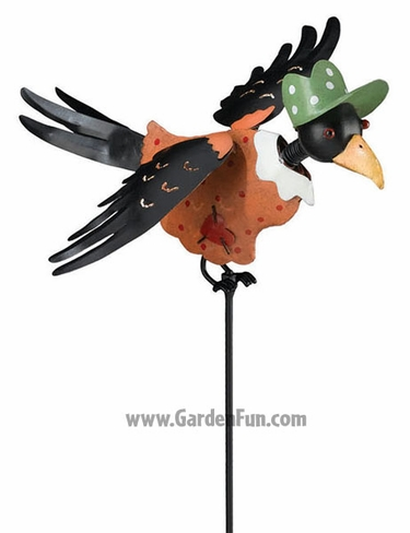 Crow Lady Jiggle Wings Garden Stake - Click to enlarge
