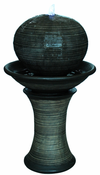 Dark Sphere LED Pillar Floor Fountain - Click to enlarge
