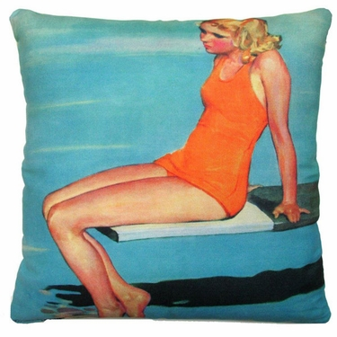 Diving Board Girl Outdoor Pillow - Click to enlarge