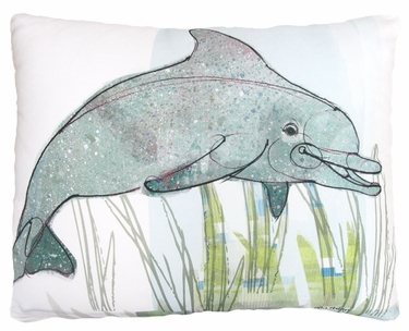 Dolphin in Marsh Outdoor Pillow - Click to enlarge