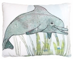 Dolphin in Marsh Outdoor Pillow