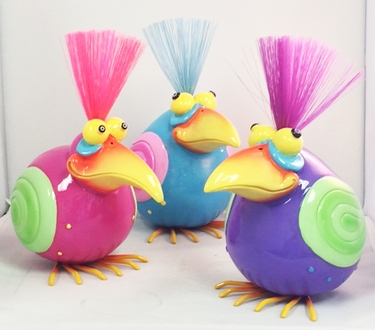 Nerdy Bird Statues (Pink/Blue/Purple) - Click to enlarge