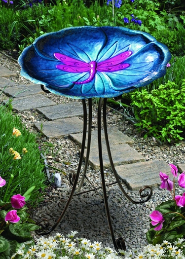 Dragonfly Bird Bath w/Stand - Click to enlarge