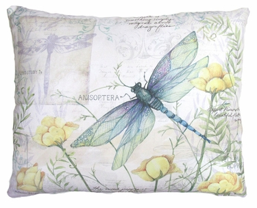 Dragonfly w/Yellow Poppies Outdoor Pillow - Click to enlarge