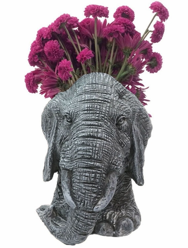 Elephant Mascot Planter - Graystone Finish - Click to enlarge
