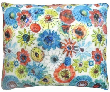 Elsa Blue Flowers Outdoor Pillow - Click to enlarge