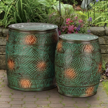 Emerald Flower Garden Stools & Planters (Set of 2) - Click to enlarge