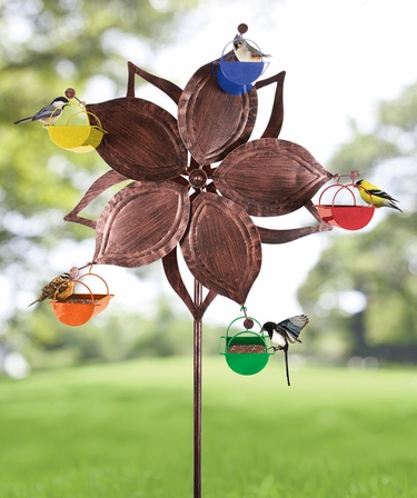 Ferris Wheel Bird Feeder - Bronze Flower - Click to enlarge