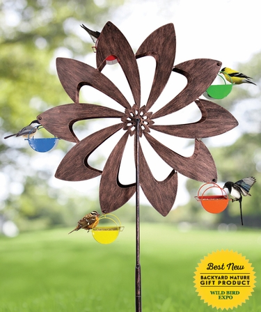 Ferris Wheel Bird Feeder - Bronze Pinwheel - Click to enlarge