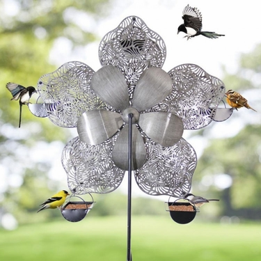 Ferris Wheel Bird Feeder - Filigree Flower - Click to enlarge