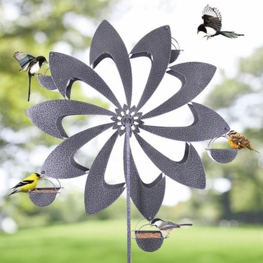 Ferris Wheel Bird Feeder - Grey Pinwheel - Click to enlarge