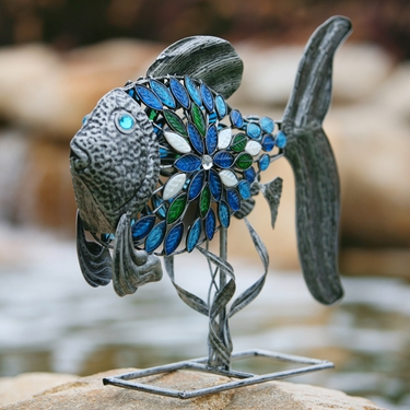 Filigree Fish w/Mosaic Tiles - Pewter - Click to enlarge