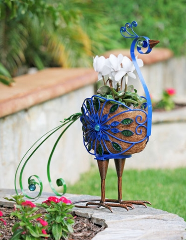 Filigree Peacock Planter - Click to enlarge