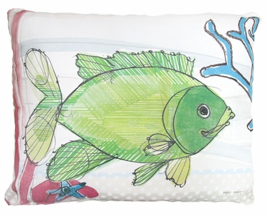 Fish with Coral Outdoor Pillow - Click to enlarge