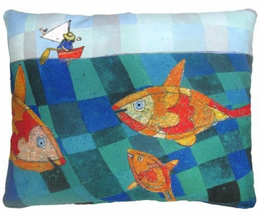 Fishes in the Sea Outdoor Pillow - Click to enlarge