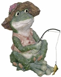 Fishing Frog Statuary