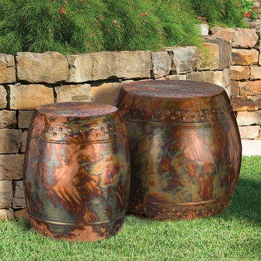 Flamed Copper Garden Stools & Planters (Set of 2) - Click to enlarge