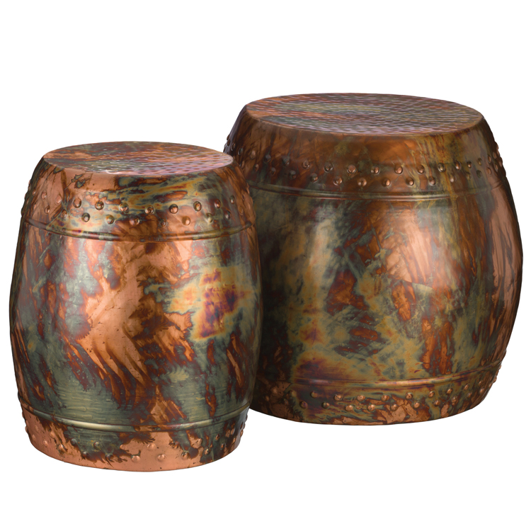 stools finished colored industrial copper garden transitional hammered design accent stool and