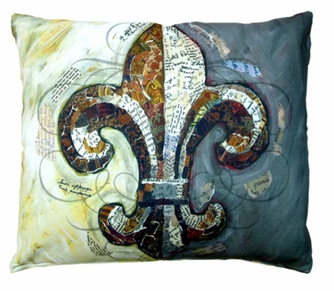 Fleur de lis w/Border Outdoor Pillow - Click to enlarge