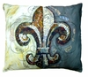Fleur de lis w/Border Outdoor Pillow