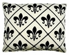 Fleur de Lis White Outdoor Pillow