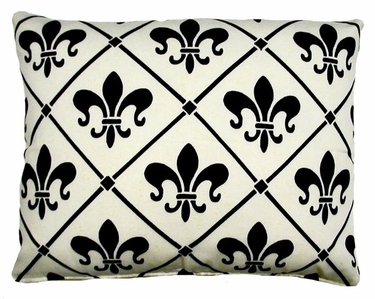 Fleur de Lis White Outdoor Pillow - Click to enlarge