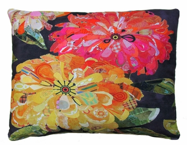 Floral Black Outdoor Pillow - Click to enlarge