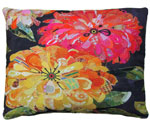 Floral Black Outdoor Pillow