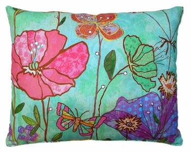 Floral Canvas Outdoor Pillow - Click to enlarge