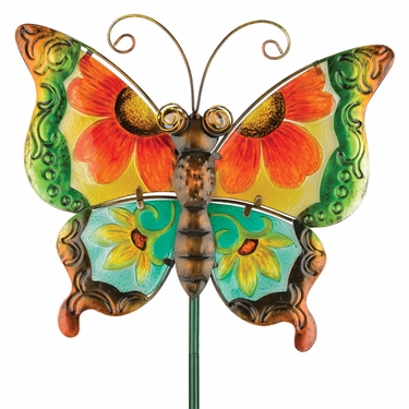 Floral Glass Butterfly Stake - Green - Click to enlarge