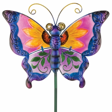 Floral Glass Butterfly Stake - Purple - Click to enlarge