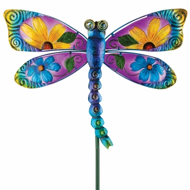 Floral Glass Dragonfly Stake - Blue - Click to enlarge