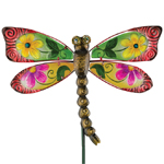 Floral Glass Dragonfly Stake - Red