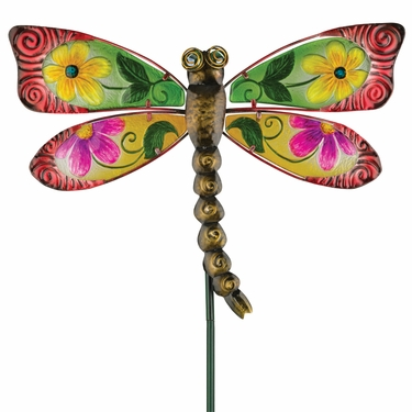 Floral Glass Dragonfly Stake - Red - Click to enlarge