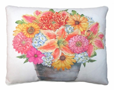 Flowers in Tin Bucket Outdoor Pillow - Click to enlarge