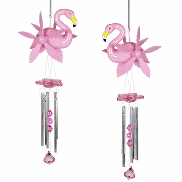 Pink Flamingo Wind Chimes Whirligigs (Set of 2) - Click to enlarge