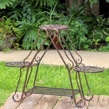 Folding 3 Plant Pot Stand - Redish Bronze - Click to enlarge