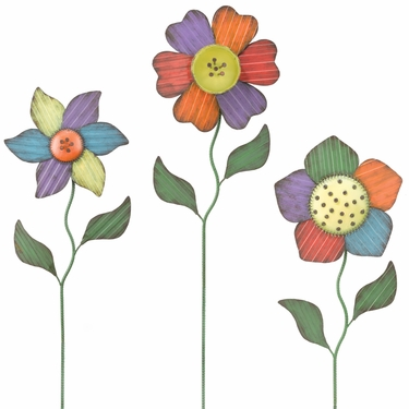 Folk Flower Garden Stakes (Set of 3) - Click to enlarge
