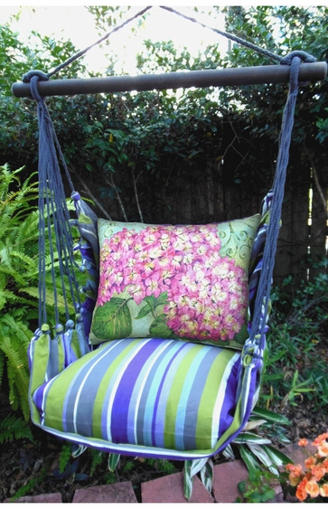 Folsom Stripe Hydrangea Pink Hammock Chair Swing Set - Click to enlarge