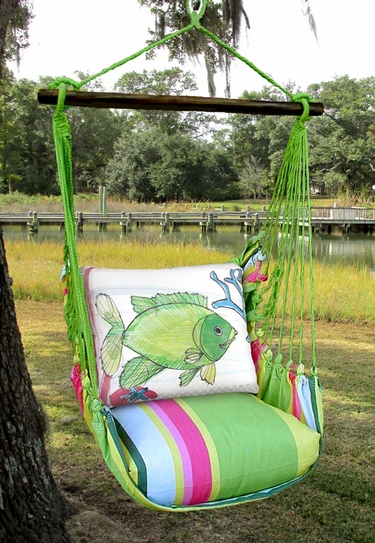 Fresh Lime Fish w/Coral Hammock Chair Swing Set - Click to enlarge