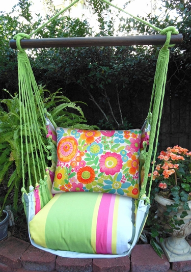 Fresh Lime Flowers All Over Hammock Chair Swing Set - Click to enlarge